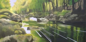 Rock Bridge, Oil on canvas, 30 x 60