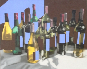 Calico Bottles, Oil on canvas, 24 x 30